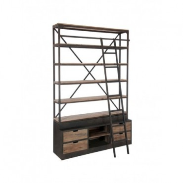 Etagere + Echelle 4 Planches Bois Metal Naturel Marron
