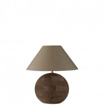 Lampe + Abat-Jour Boule Mia Bois De Manguier Marron Taille S