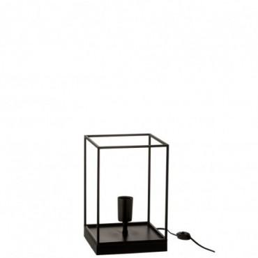 Lampe 1 Ampoule Rectangulaire Cadre Metal Noir Taille S
