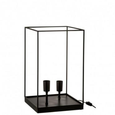 Lampe 2 Ampoules Rectangulaire Cadre Metal Noir Taille L
