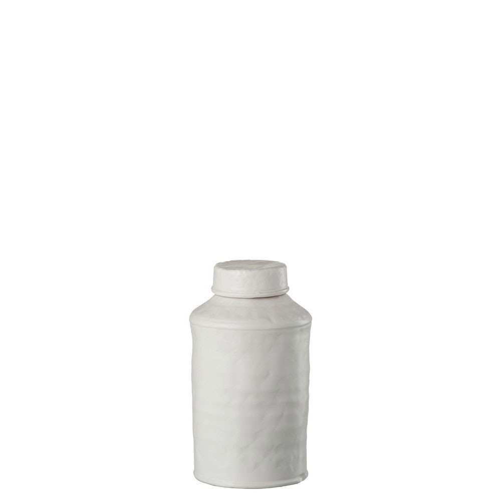 Pot A Provision Decoratif Ibiza Terre Cuite Blanc Large