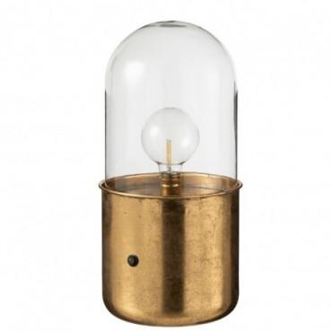 Lampe Antique Led Verre/Zinc Or Taille L