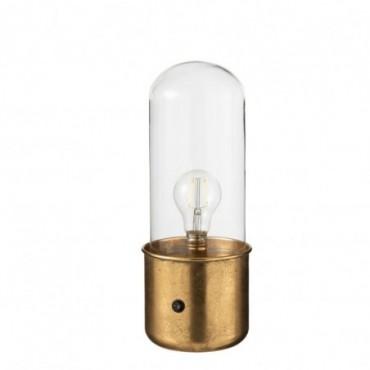 Lampe Antique Led Verre/Zinc Or Taille S
