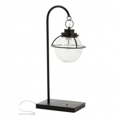 Lampe Boule Suspendue Metal/Verre Noir