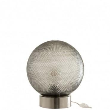 Lampe Boule Verre Argent