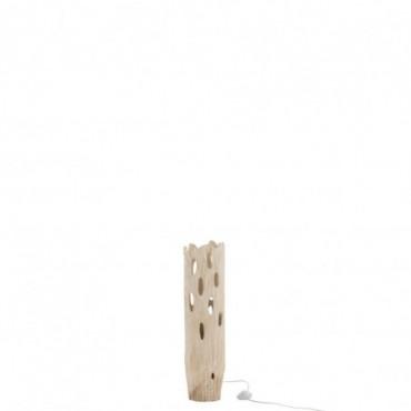 Lampe De Table Tronc Avec Trous Bois Paulownia Blanc