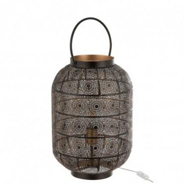 Lampe Lanterne Oriental Fer Noir