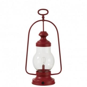 Lampe Led Lanterne Haute Anse Metal/Verre Rouge