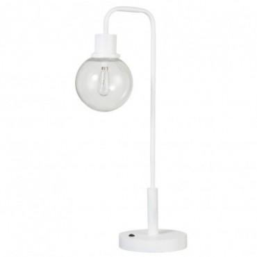 Lampe Led Piles Non Incluses Boule Metal/Verre Blanc