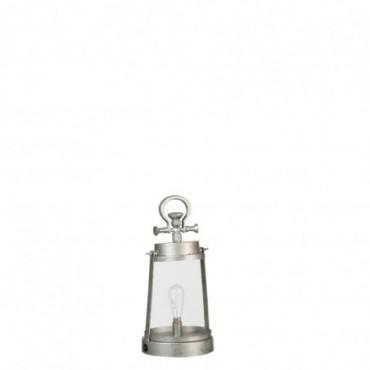 Lampe Led Piles Non Incluses Lanterne Metal/Verre Gris Taille L