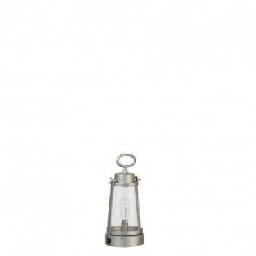 Lampe Led Piles Non Incluses Lanterne Metal/Verre Gris Taille S