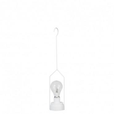 Lampe Led Piles Non Incluses Suspendue Metal/Verre Blanc