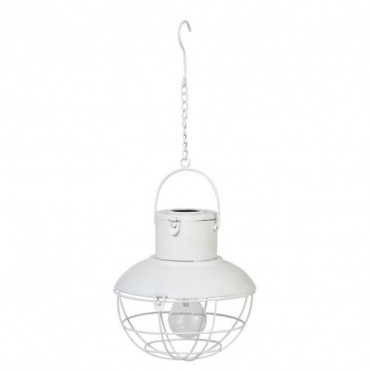 Lampe Led Suspendue Energie Solaire Metal/Verre Blanc