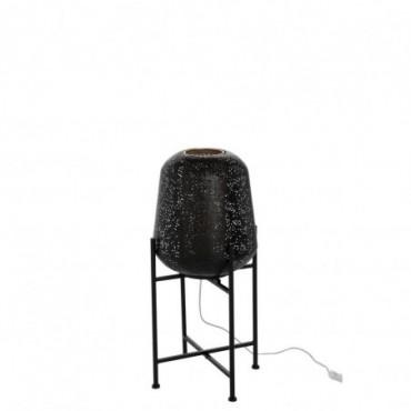 Lampe Orientale Fine Sur Pied Metal Noir Taille S