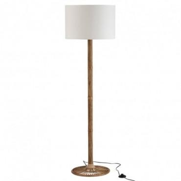 Lampe Sur Pied + Abat-Jour Naia Rotin Naturel/Blanc