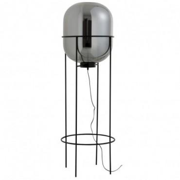 Lampe Sur Pied Sasha Verre/Metal Argent/Noir Taille L