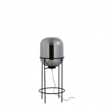 Lampe Sur Pied Sasha Verre/Metal Argent/Noir Taille M