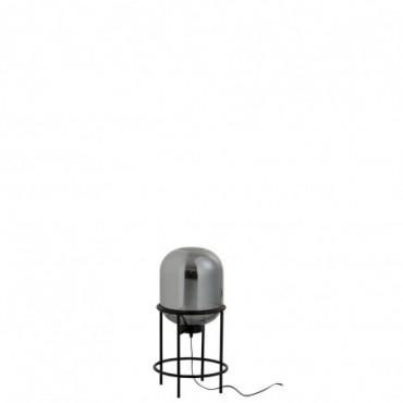 Lampe Sur Pied Sasha Verre/Metal Argent/Noir Taille S
