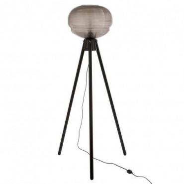 Lampe Sur Pied Teri Tripod Verre/Bois Gris/Noir