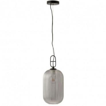 Lampe Suspendu Yufo Long Verre/Marbre Gris/Noir