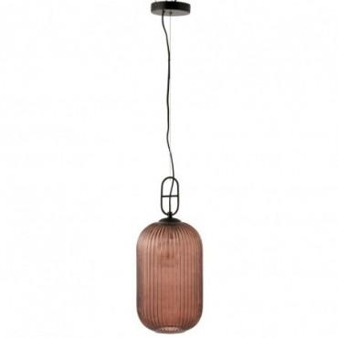 Lampe Suspendu Yufo Long Verre/Marbre Rouge/Noir