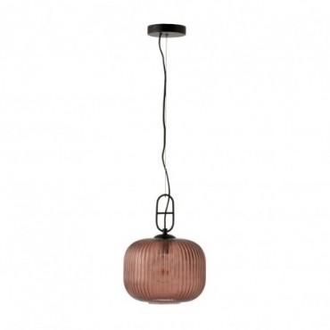 Lampe Suspendu Yufo Verre/Marbre Rouge/Noir