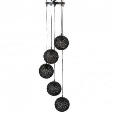 Lampe Suspendue 6 Boules Rotin Noir