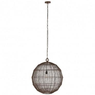 Lampe Suspendue Boule Fils Metal Rouille Taille L