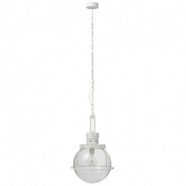 Lampe Suspendue Boule Verre/Metal Blanc