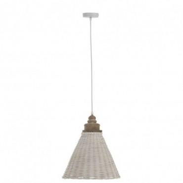 Lampe Suspendue Conique Rotin Blanc