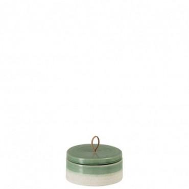 Pot + Couvercle Ceramique Vert/Blanc Medium
