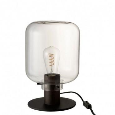Lampe Table Kiyu Verre/Acier Transparant/Noir