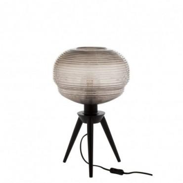 Lampe Table Teri Tripod Verre/Bois Gris/Noir