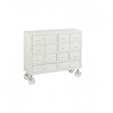 Commode + Roues 14 Tiroirs Bois Blanc