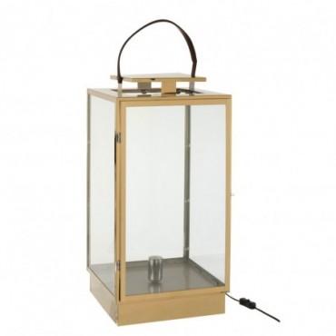 Lanterne Lampe Metal/Verre Or