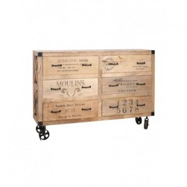 Commode + Roues 6 Tiroirs bois naturel