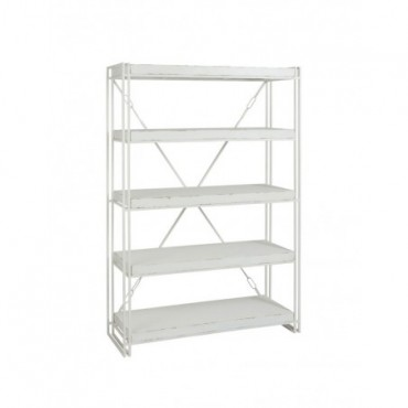 Bibliotheque 4 Planches Bois Metal Blanc