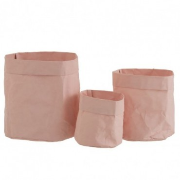 Set De 3 Cache-Pots Sac Résistant À L'Eau Papier Kraft Rose