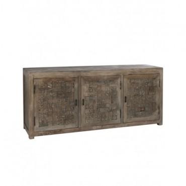 Armoire Relief 3 Portes bois naturel