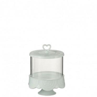 Plateau A Tartes + Cloche Coeur Ceramique Vert Medium
