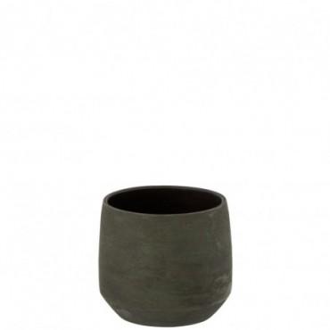 Cachepot Irregulier Rugueux Ceramique Vert Taille M