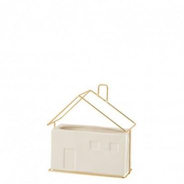 Cachepot Maison Porcelaine Blanc/Or Taille L