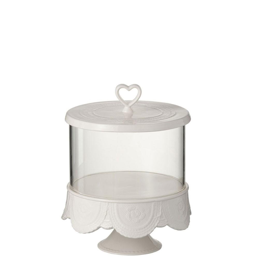 Plateau A Tartes + Cloche Coeur Ceramique Blanc Large