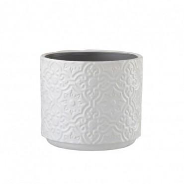 Cachepot Oriental Ceramique Blanc Taille L