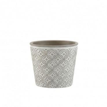 Cachepot Oriental Ceramique Gris Taille L