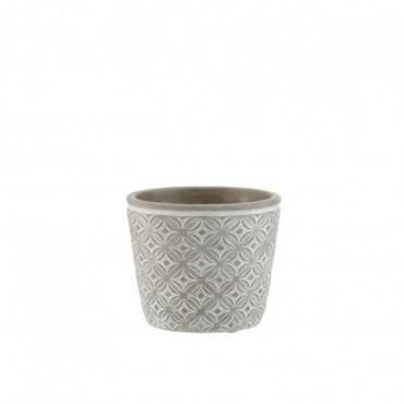 Cachepot Oriental Ceramique Gris Taille M