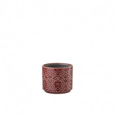 Cachepot Oriental Ceramique Rouge Extra Taille S