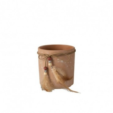 Cachepot Plumes Terracotta Taille M