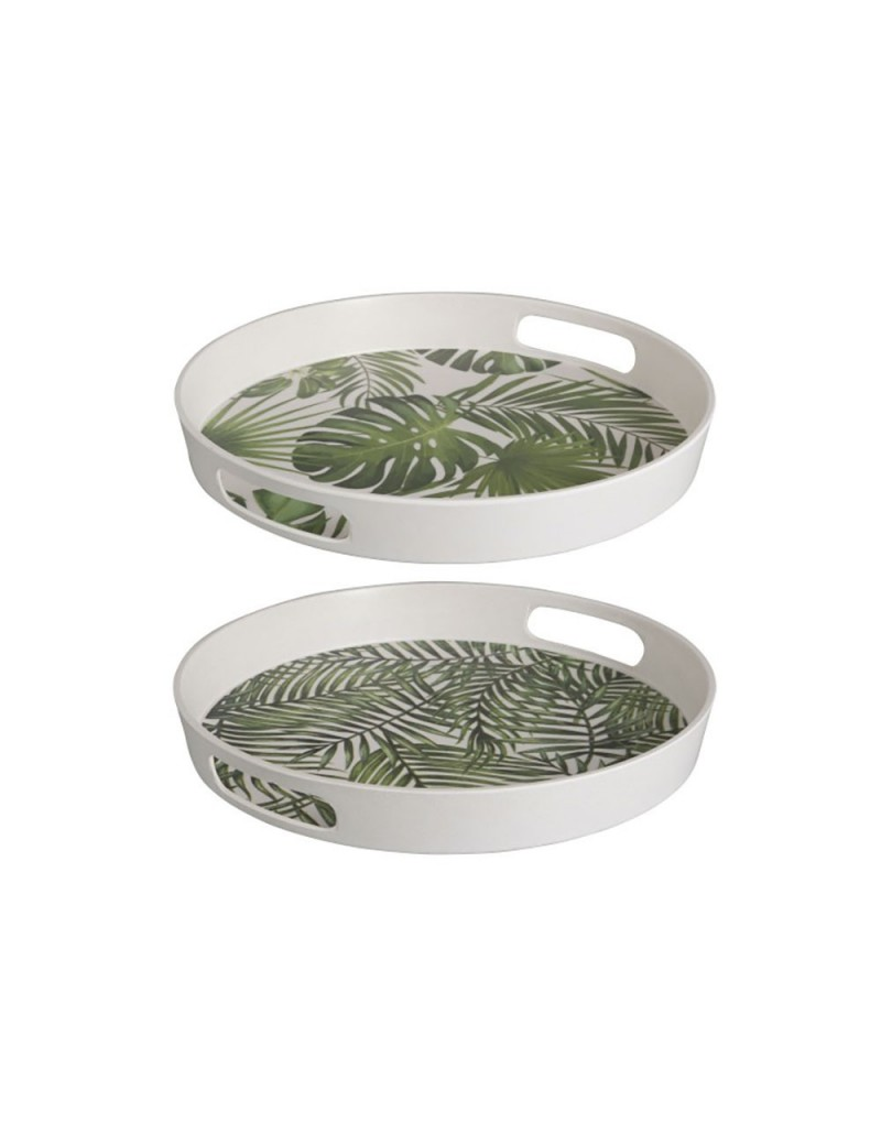 Plateau Rond Tropical Bambou Vert