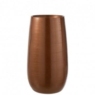Vase Brillant Ceramique Orange/Or Taille L